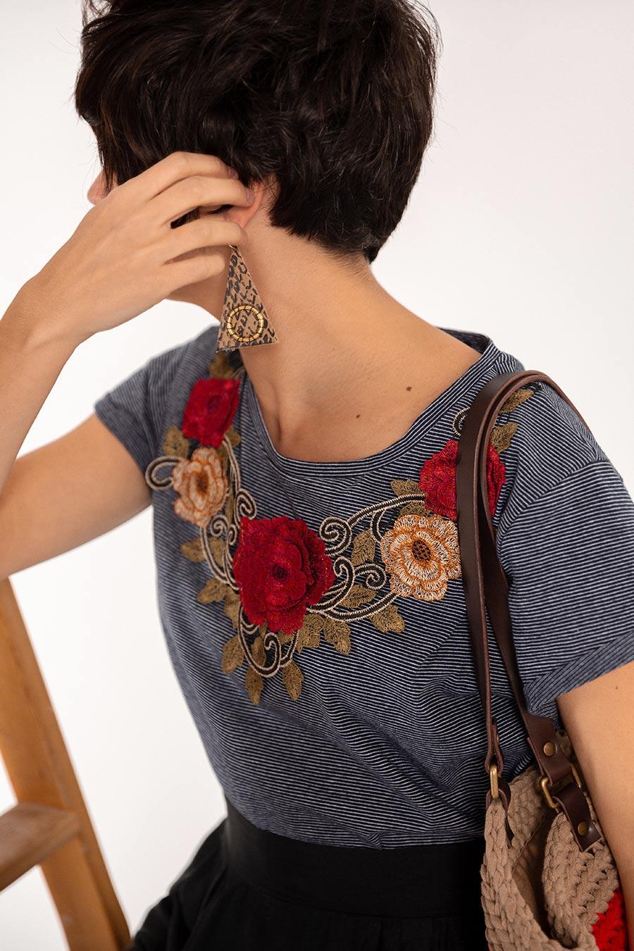 OTRORA_Camiseta manga corta en punto de algodón rayas