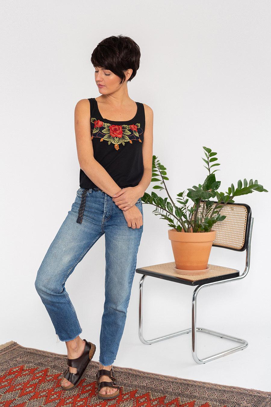 OTRORA_Camiseta de tirantes en punto algodón/Tencel