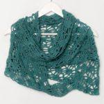 OTRORA_Chal de lino tejido a mano en color aguamarina