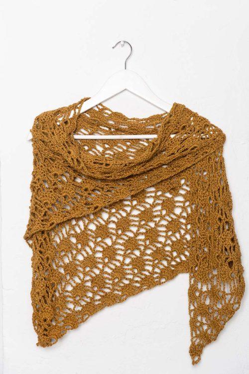 OTRORA_Chal de lino tejido a mano en color bronce