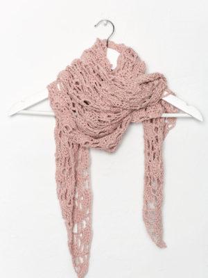 OTRORA_Chal de lino tejido a mano en color rosa palo