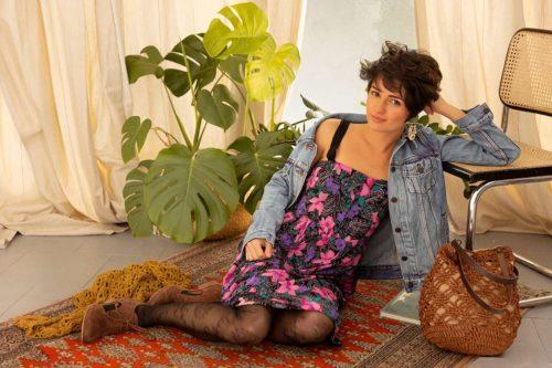 OTRORA_Vestido de tirantes estampado flores vintage