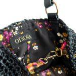 OTRORA_bolso de rafia tejido a mano en color negro carbón forrado con tela vintage de flores